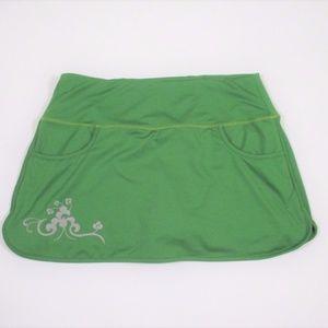 Athleta L Running Mini Skirt Short Skort Green EUC